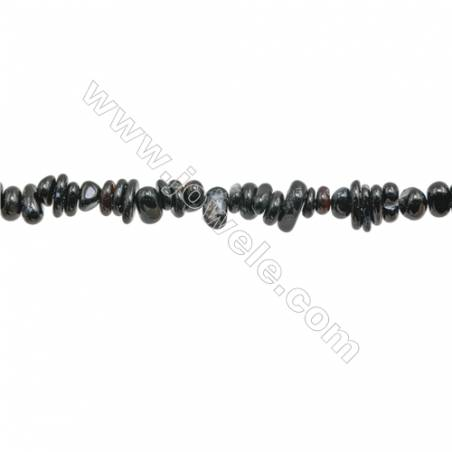 """Natural Black Agate Chips  About 5~8 x6~12mm  hole 0.8mm 15~16"""" x 1strand"""