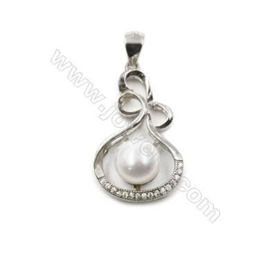 925 sterling silver platinum plated CZ pendant-D5658 16x25 mm x 5pcs disc diameter 7mm  needle  0.7 mm