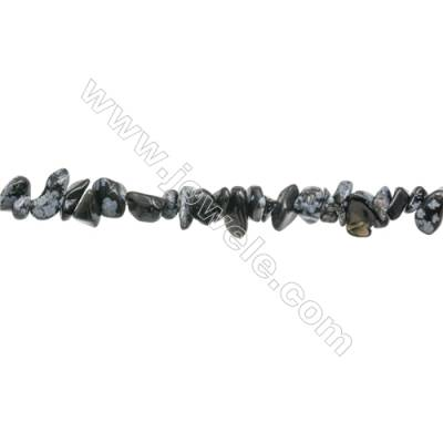 "Natural Snowflake Obsidian Beads Strand  Chips  Size 4~7x5~13mm   hole 0.8mm  31~32"" x 1strand"