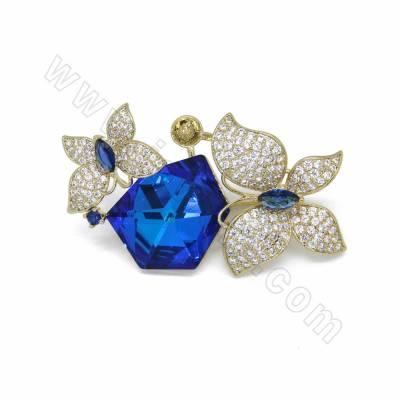 CZ Brass with Blue Glass...