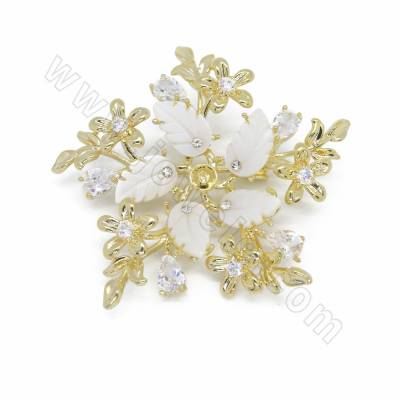 CZ Brass with Shell Brooch,...