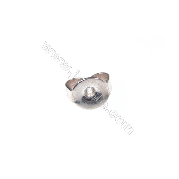 925 Sterling silver ear-nuts/clutches ear findings,  5mm, x100pcs, hole 0.8mm