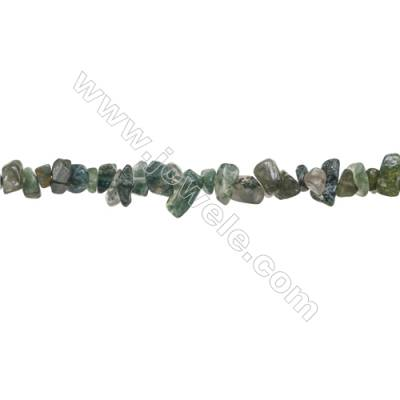 "Natural Moss Agate Beads Strand  Chips  Size 4~8x5~14mm  hole 0.8mm  31~32"" x 1strand"