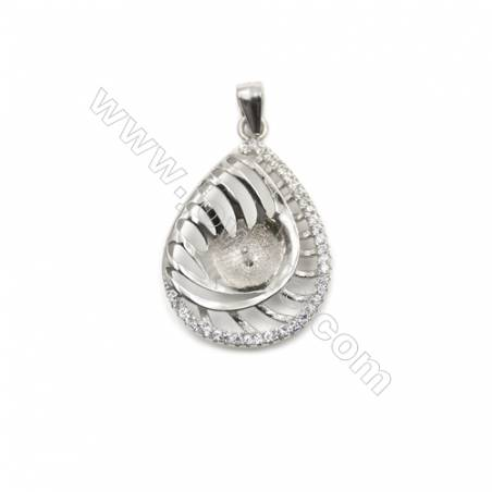 925 sterling silver platinum plated zircon pendant, 19x26mm, x 5pcs, tray 6mm, Pin 0.8mm
