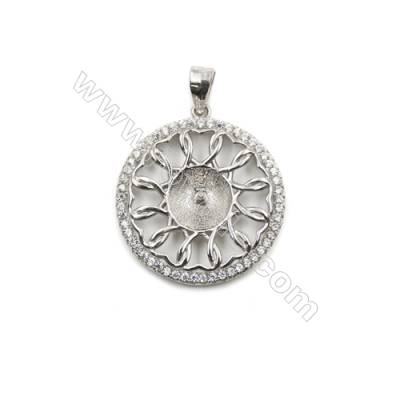 Sterling silver 925 platinum plated inlaid zircon Pendant, 22mm, x 5pcs, tray 9mm, needle 0.8mm