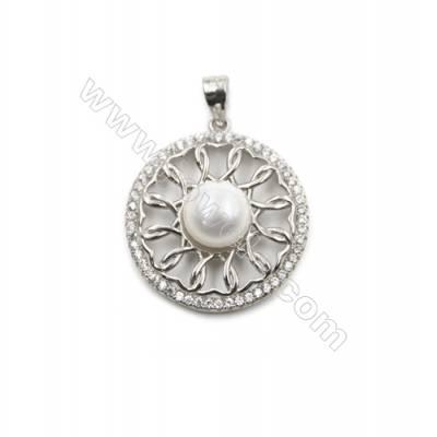 Sterling silver 925 platinum plated inlaid zircon Pendant in-D5838 22mm x 5pcs disc diameter 9mm needle diameter 0.8mm