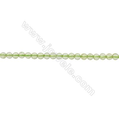 Natural Peridot Beads Strand  Round  Diameter 2mm  hole 0.3mm  about 208 beads/strand  15~16""
