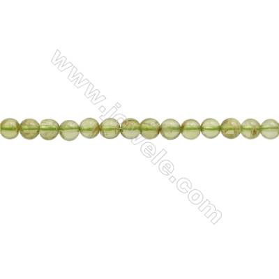 Natural Peridot Beads Strand  Round  Diameter 4mm  hole 0.6mm  about 98 beads/strand  15~16""