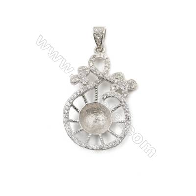 Platinum plated CZ inlaid sterling silver pendant, 31x20mm, x 5pcs, tray 9mm, needle 0.7mm