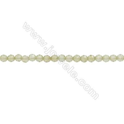 Natural Peridot Beads Strand  Faceted Round  Diameter 2mm  hole 0.3mm  about 191 beads/strand  15~16""