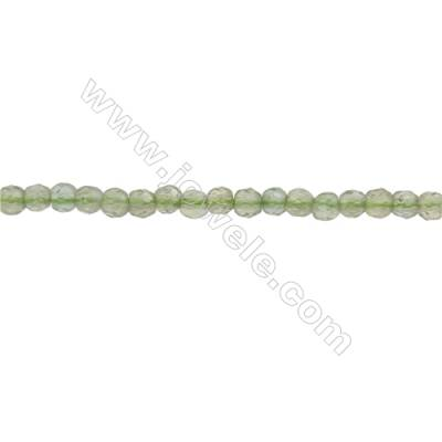 Natural Peridot Beads Strand  Faceted Round  Diameter 3mm  hole 0.6mm  about 139 beads/strand  15~16""