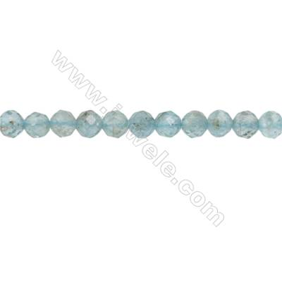 Natural Apatite Beads Strand  Faceted Round  Diameter 4mm  hole 0.6mm  about 96 beads/strand 15~16""
