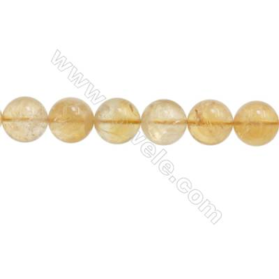 Natural Citrine Beads Strand  Round  Diameter 12mm  hole 1mm  about 32 beads/strand  15~16""