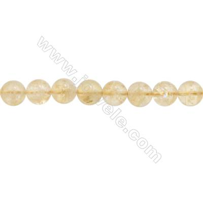 Natural Citrine Beads Strand  Round  Diameter 10mm  hole 1mm  about 40 beads/strand  15~16""