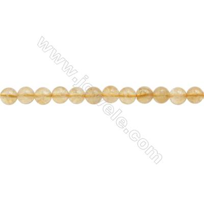Natural Citrine Beads Strand  Round  Diameter 6mm  hole 1mm  about 67 beads/strand  15~16""
