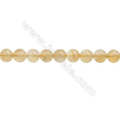 Natural Citrine Beads Strand  Round  Diameter 8mm  hole 1mm  about 50 beads/strand  15~16""