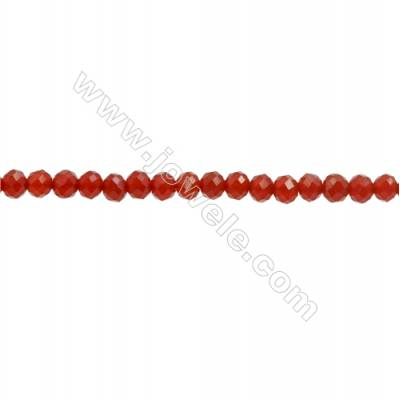 Natural Red Agate Beads Strand  Faceted Abacus  Size 3x4mm  hole 0.8mm  about 122 beads/strand  15~16""
