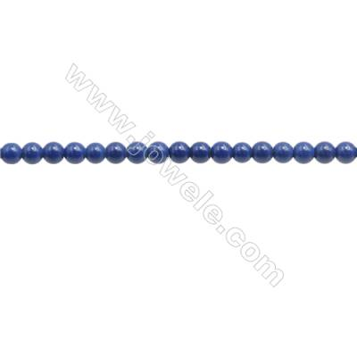 Handmade Blue Printed Porcelain Beads Strands  Round  Diameter 3mm  Hole 0.6mm  about 141 beads/strand 15~16""