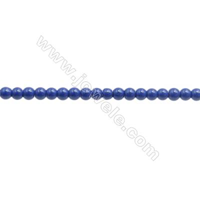 Handmade Blue Printed Porcelain Beads Strands  Round  Diameter 2mm  Hole 0.3mm  about 196 beads/strand 15~16""
