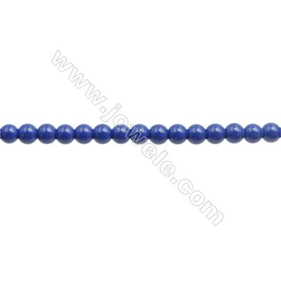 Handmade Blue Printed Porcelain Beads Strands  Round  Diameter 4mm  Hole 0.8mm  about 115 beads/strand 15~16""