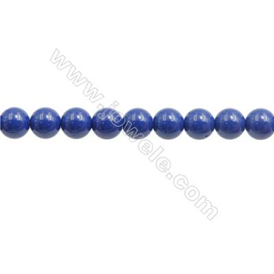 Handmade Blue Printed Porcelain Beads Strands  Round  Diameter 6mm  Hole 0.8mm  about 66 beads/strand 15~16""
