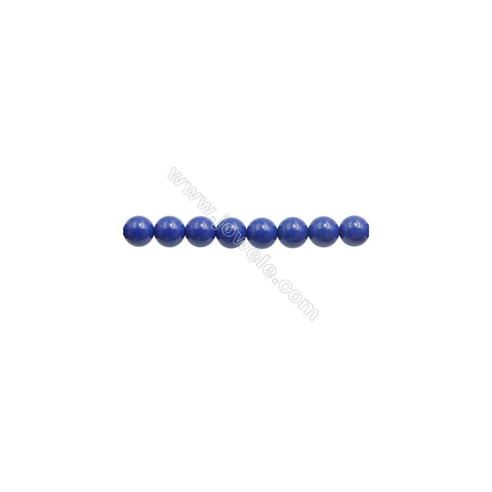 Handmade Blue Printed Porcelain Beads Strands  Round  Diameter 8mm  Hole 0.8mm  about 51 beads/strand 15~16""