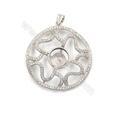 925 Sterling silver platinum plated pendants with zircon inlaid, 34mm, x 5 pcs, tray 8mm, needle 0.8mm