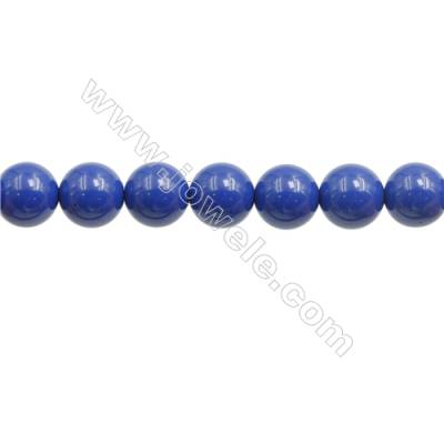 Handmade Blue Printed Porcelain Beads Strands  Round  Diameter 10mm  Hole 1mm  about 42 beads/strand 15~16""