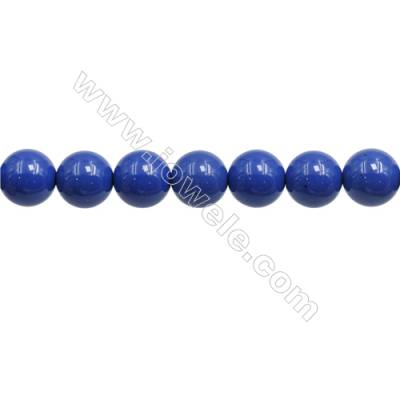 Handmade Blue Printed Porcelain Beads Strands  Round  Diameter 12mm  Hole 1mm  about 34 beads/strand 15~16""