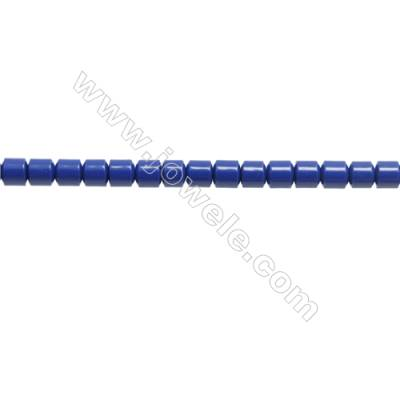 Handmade Blue Printed Porcelain Beads Strands  Column  Size 3.5x3.5mm  Hole 0.6mm  about 115 beads/strand 15~16""