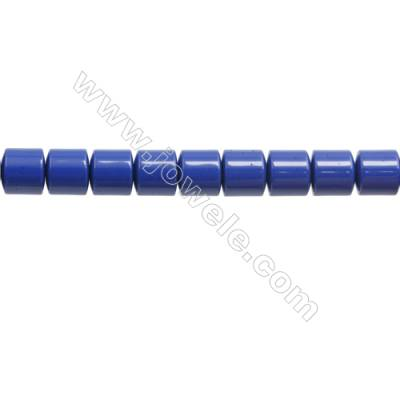 Handmade Blue Printed Porcelain Beads Strands, Column, Size 7x7mm, Hole 0.6mm, about 65 beads/strand 15~16""
