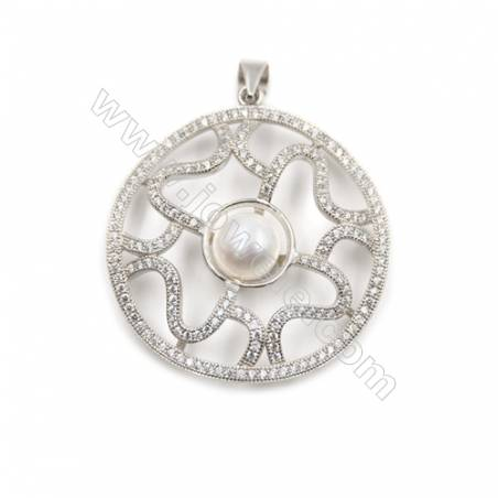 925 Sterling silver platinum plated  pendants with zircon inlaid-D5632 34mm x 5 pcs disc diameter 8mm  needle diameter 0.8mm