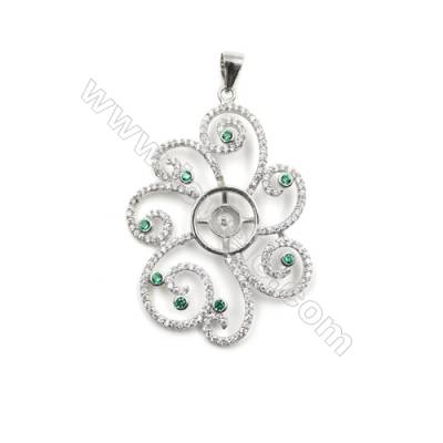 925 sterling silver platinum plated CZ inlaid pendants, 41x29mm, x 5 pcs, tray 5mm, needle 0.6mm