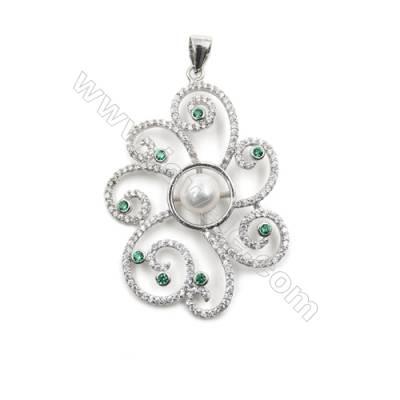 925 sterling silver platinum plated CZ inlaid pendants-D5492 41x29mm x 5 pcs disc diameter 5mm needle diameter 0.6mm
