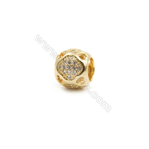 Gold-Plated (Rhodium Plated) Cubic Zirconia Brass Spacer Beads  Round  Diameter 10mm  Hole 5.5mm 20pcs/pack