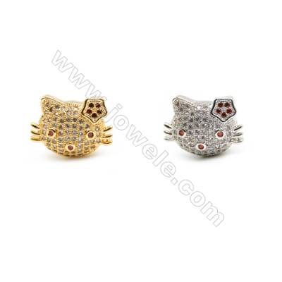 Gold-Plated (Rhodium Plated) Cubic Zirconia Brass Charms, Kitty, Size 13x17mm, Hole 2mm, 20pcs/pack
