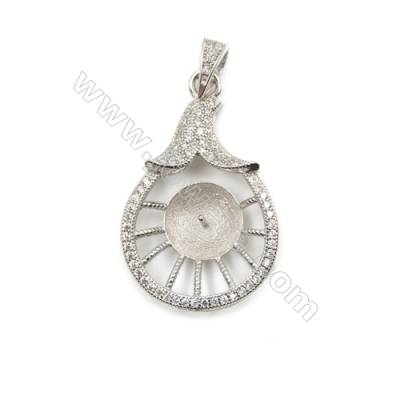 CZ inlaid sterling silver platinum plated pendant, 19x29mm, x 5 pcs, tray 9mm, needle 0.7mm