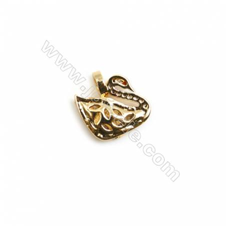 Gold-Plated (Rhodium Plated) Cubic Zirconia Brass Charms  Swan  Size 13x14mm  10pcs/pack
