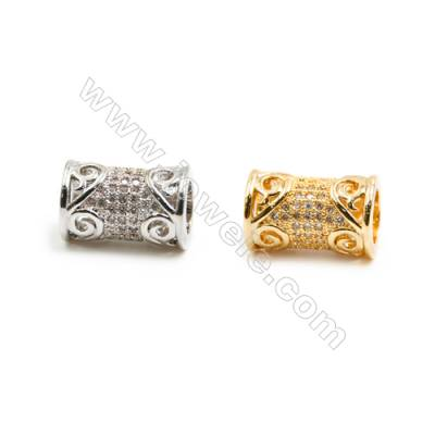 Gold-Plated (Rhodium Plated) Cubic Zirconia Brass Beads, Column, Size 10x15mm, Hole 5.5mm, 20pcs/pack