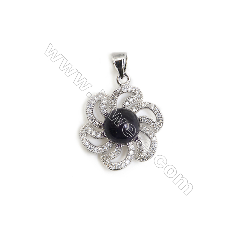 Gold-Plated (Rhodium Plated) Cubic Zirconia Brass Pendant Component  Flower  Size 19x21mm  Tray 7mm  Pin 0.7mm  20pcs/pack
