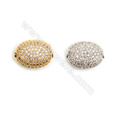 Gold-Plated (Rhodium Plated) Cubic Zirconia Brass Beads, Oval, Size 10x14mm, Hole 1mm, 10pcs/pack