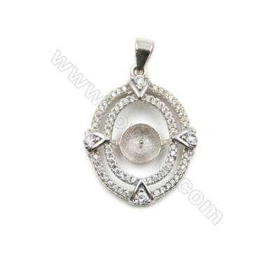 Zircon inlaid 925 sterling silver platinum plated pendants, 20x26mm, x 5 pcs, tray 7mm, pin 0.7mm