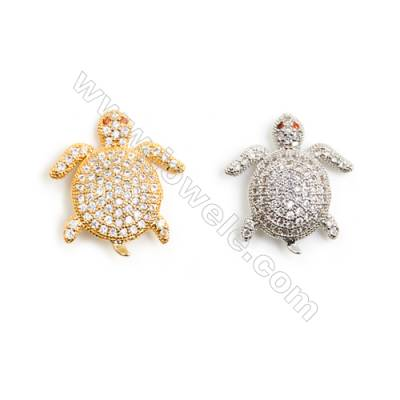 Gold-Plated (Rhodium Plated) Cubic Zirconia Brass Beads, Turtle, Size 19x20mm, Hole 1.5mm, 20pcs/pack