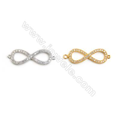 Brass Connector, Gold-Plated (White gold Plated), Cubic Zirconia, Size 9x30mm, Hole 1mm, 30pcs/pack