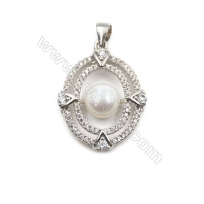Zircon inlaid 925 sterling silver platinum plated pendants  20x26mm x 5 pcs  tray 7mm  pin 0.7mm