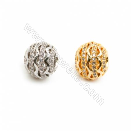 Gold-Plated (Rhodium Plated) Cubic Zirconia Brass Spacer Beads  Round  Diameter 12mm  Hole 4.5mm   20pcs/pack
