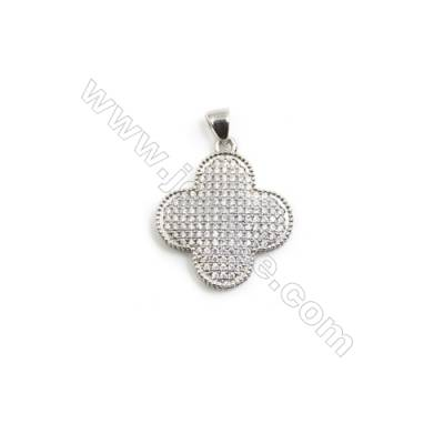 Gold-Plated (Rhodium Plated) Cubic Zirconia Brass Pendant   Clover  Size 21x24mm  10pcs/pack