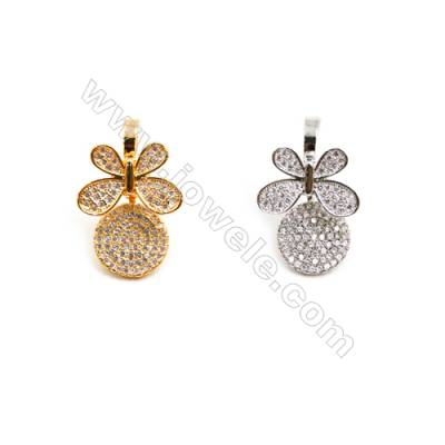 Gold-Plated (Rhodium Plated) Cubic Zirconia Brass Pendant  Butterfly  Size 16x25mm  10pcs/pack