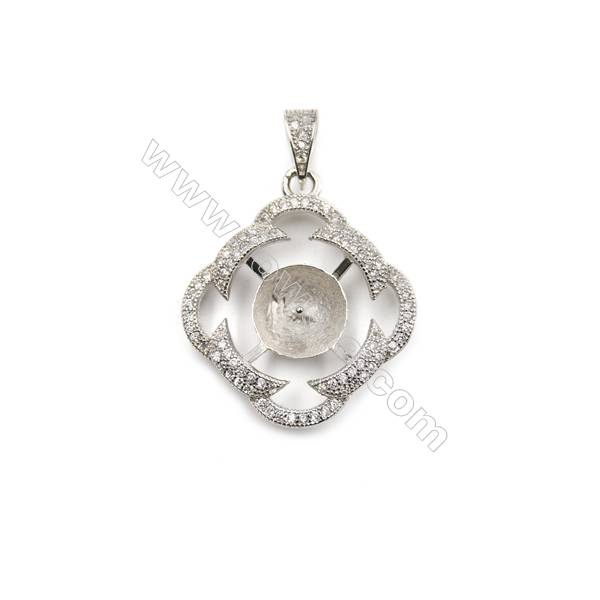 CZ inlaid 925 sterling silver platinum plated pendant, 23 mm, x 5pcs, tray 9 mm, needle 0.6 mm