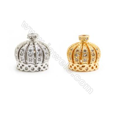 Gold-Plated (Rhodium Plated) Cubic Zirconia Brass Beads, Crown, Size 13x14mm, Hole 1mm, 30pcs/pack